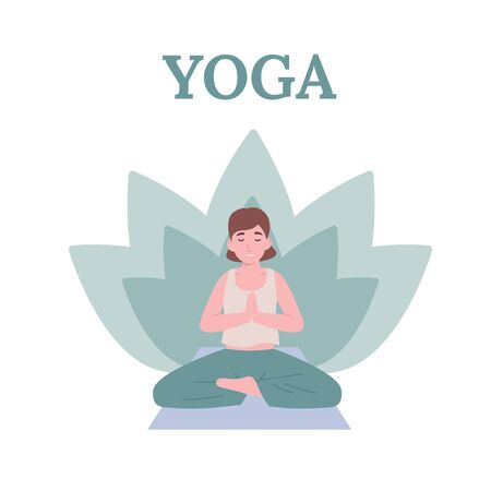 Concept young beautiful woman practicing yoga in lotus pose. Flat vector cartoon modern style illustration.