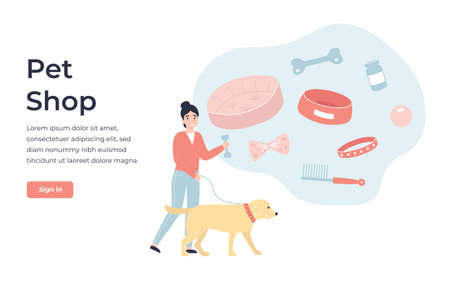 Concept Pet Shop online store. Flat vector cartoon modern illustration for banner, poster, app, template, layout, website.