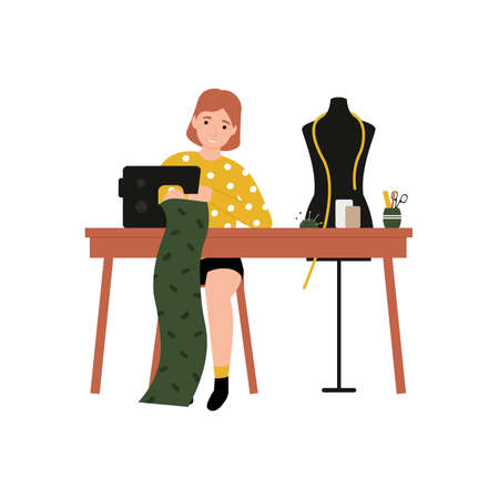 Girl at a sewing machine sews clothes. Flat vector cartoon modern illustration.