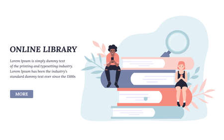Online library, reading books. People read books online. Flat concept vector illustration design for landing page, web, poster, banner, flyer, layout, template, application.