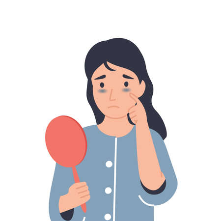 Dark circles under eyes. Girl with bruises from insomnia, disease, fatigue. Flat vector cartoon modern illustration.