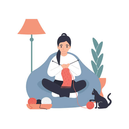 Hobby concept. Girl use knitting needles knits a scarf at home. Flat vector modern cartoon illustration. Vettoriali
