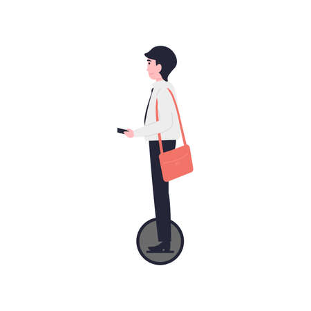 Young businessman ride on an electric unicycle. Flat vector cartoon modern illustration.