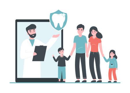 Dental insurance and healthcare flat vector concept. Doctor dentist man online and happy healthy family with children. Flat vector Illustration for web page, banner, poster, template, layout.