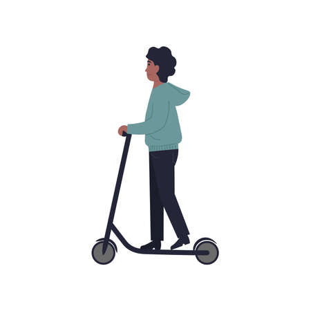 Stylish young guy ride on an electric motorized kick scooter. Flat vector cartoon modern illustration.