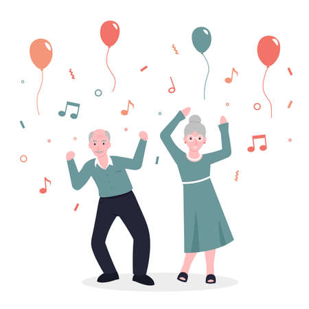 Happy old couple grandparents people dance to music and rejoice. Party concept. Flat vector cartoon modern illustration.