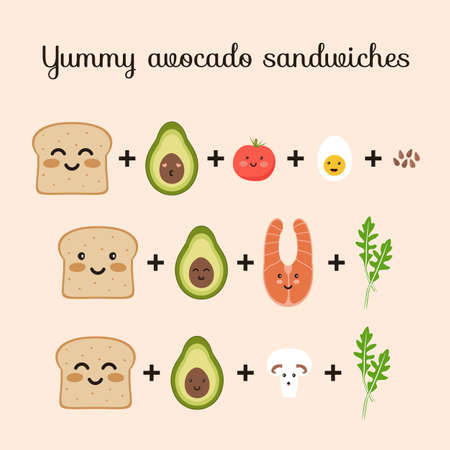 Set of ingredients for yummy avocado sandwiches toasts. Bread, avocado, tomato, egg, champignon, arugula, salmon, flax seed. Flat vector cute cartoon characters illustration.  イラスト・ベクター素材