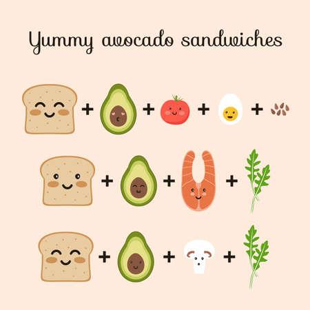 Set of ingredients for yummy avocado sandwiches toasts. Bread, avocado, tomato, egg, champignon, arugula, salmon, flax seed. Flat vector cute cartoon characters illustration. Stock Illustratie