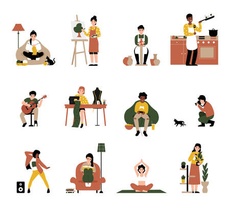Set people enjoy their favorite hobbies. Flat vector cartoon modern illustration. Knitting, drawing, potter, cooking, play guitar, sewing, play console, photograph, dancing, reading, yoga, gardening.