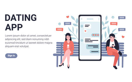 People chatting with each other on phone application. Flat concept modern vector illustration design for landing page, web, poster, banner, flyer, layout, template, application.