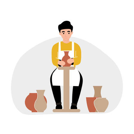 Hobby concept. Guy modeling of clay ceramic tableware on a potter's wheel. Flat vector cartoon modern illustration.