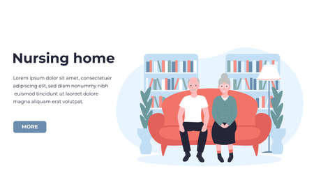 Nursing home, boarding house, guesthouse concept. are and treatment for the elderly people. Flat vector cartoon modern illustration for banner, poster, app, template, layout. Ilustración de vector