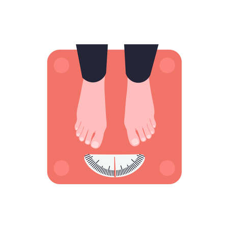 Female feet stand on floor scales. Girl is weighed. Flat vector illustration.