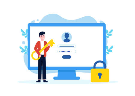 Man with key near computer and account login and password. Vector male character design concept for landing page, web, poster, banner, layout, template. Flat illustration.