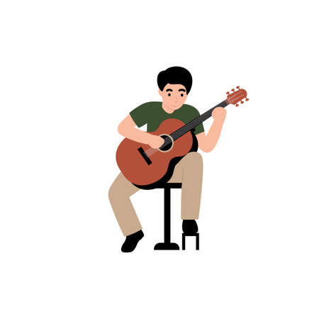 Guy plays the classical guitar. Flat vector cartoon modern illustration.