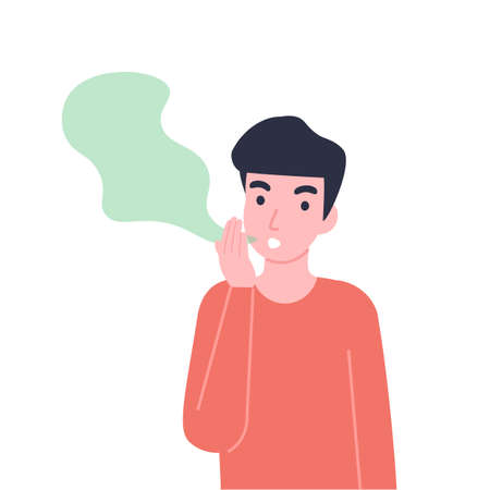 Man has bad smell in his mouth. Halitosis or fetor oris problem. Flat vector cartoon modern illustration.