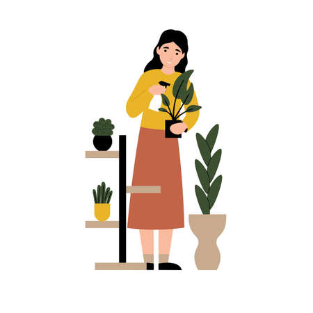 Girl spraying water home flowers. Woman caring for houseplants. Flat vector cartoon modern illustration.