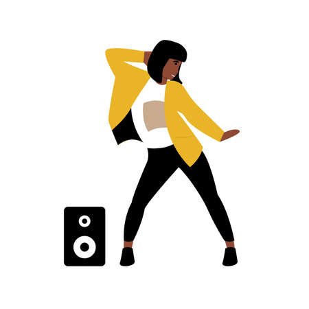 Hobby concept. Girl dancing modern dance to music. Flat vector cartoon modern illustration. Çizim