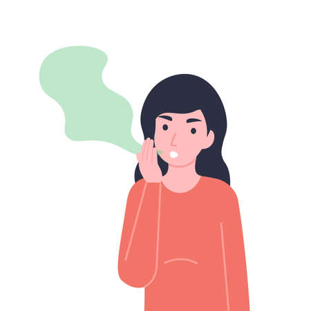 Woman has bad smell in her mouth. Halitosis or fetor oris problem. Flat vector cartoon modern illustration.  イラスト・ベクター素材