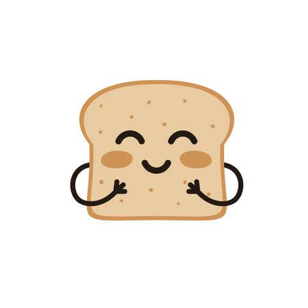 Cute happy smiling funny kawaii slice toast or bread. Flat vector cartoon modern character illustration.