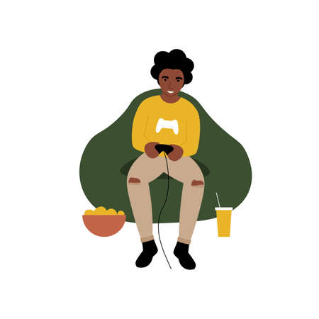 Hobby concept. Guy playing a video game console. Flat vector cartoon modern illustration.
