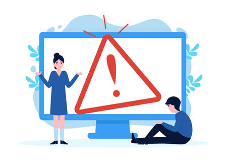 Flat concept 404 error page for web page, banners, template. Website maintenance error, webpage under construction. Error warning window operating system. Vector.  イラスト・ベクター素材