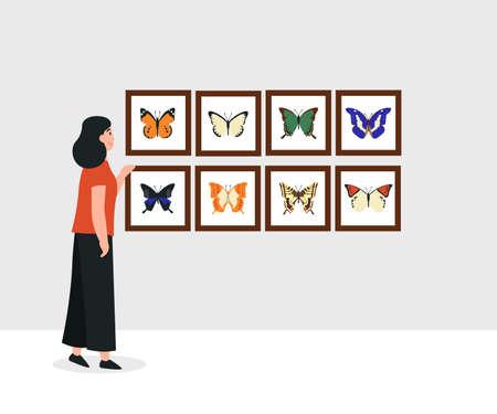 Hobby concept, girl collects butterflies. Flat vector cartoon modern illustration.