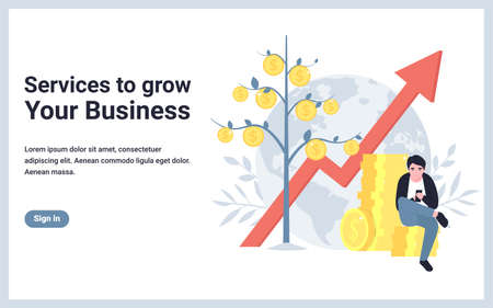 Service to grow your business. Money tree, up arrow, man with mobile phone. Flat concept vector illustration design for banner, website, landing page, template, poster, application.