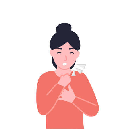 Woman clutching her chest and coughing, dyspnea, shortness of breath, disordered or inadequate breathing, pain in the chest and air hunger, lack of air, hyperventilation.