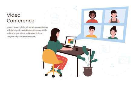 Conference concept. People in different locations communicate with each other use internet. Girl at home using laptop and camera communicates with colleagues and friends. Flat vector illustration.  イラスト・ベクター素材