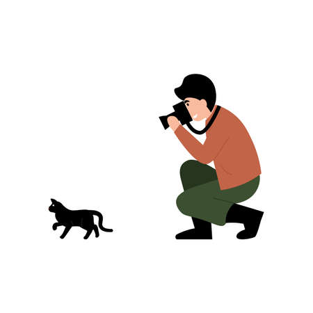 Guy photographer stands on one knee and takes a picture of a cat. Flat vector cartoon modern illustration.