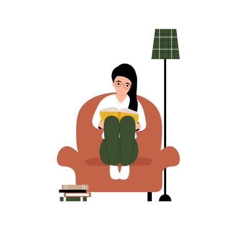 Hobby concept. Girl sitting on an armchair and reading a book. Flat vector cartoon modern illustration.