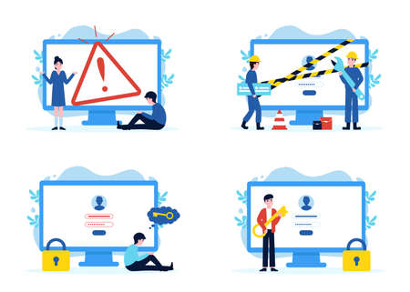 Set website pages, error 404 disconnect, construction and under maintenance, forgot password, enter password and enter. Flat vector modern illustration for banner, poster, app, template, layout, page.  イラスト・ベクター素材