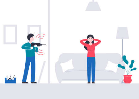 Girl suffers from a loud sounds neighbor with a drill. Man makes repairs at home and interferes his neighbors. Flat vector cartoon modern illustration.