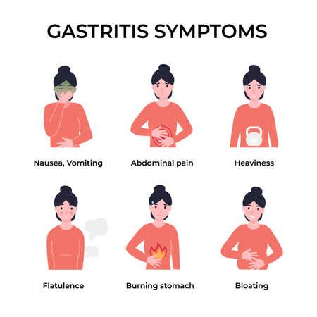 Set gastritis symptoms. Vomiting, abdominal pain, heaviness, flatulence, burning stomach, bloating. Flat vector cartoon modern illustration.