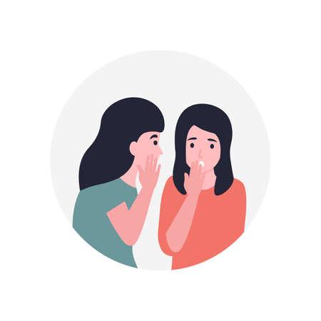 Girls spread rumors. Gossip women. Girlfriend whispering a secret in her friends ear. Flat vector cartoon modern illustration.