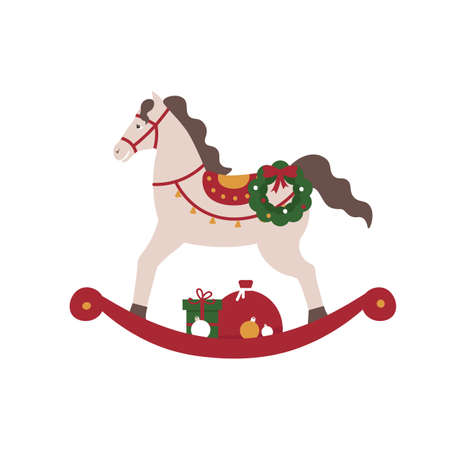 New year rocking horse with gifts and new year wreath. Merry Christmas and New Year. Xmas. Flat vector cartoon illustration.