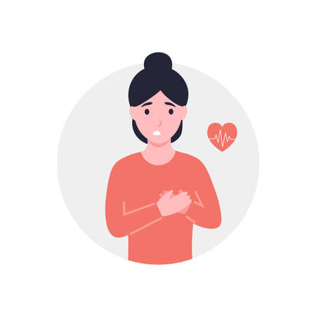Rapid pulse or heart attack, pain. Woman holds hands on chest. Girl with strong chest pain, feel pressure or squeezing. Flat vector cartoon modern illustration.
