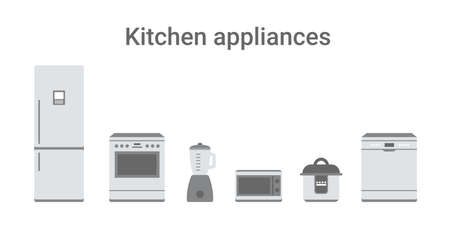 Set simple flat kitchen appliances illustration isolated white background. Flat vector design.  イラスト・ベクター素材