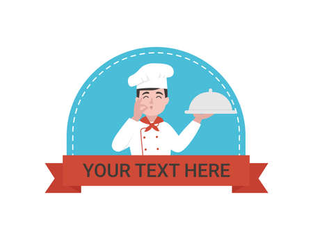 Happy chef holding serving tray, man kisses his fingers as a sign of yummy. Space for your text. Flat vector cartoon illustration.