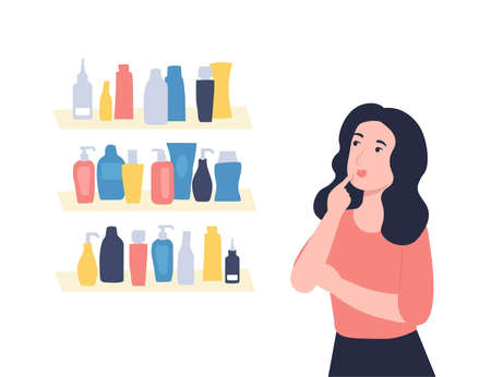 Young beautiful girl chooses a care cosmetics. Skincare concept. Flat vector cartoon illustration.  イラスト・ベクター素材