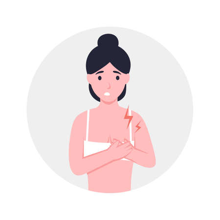 Woman holding her chest, girl with strong chest pain, close up. Flat vector cartoon modern illustration.