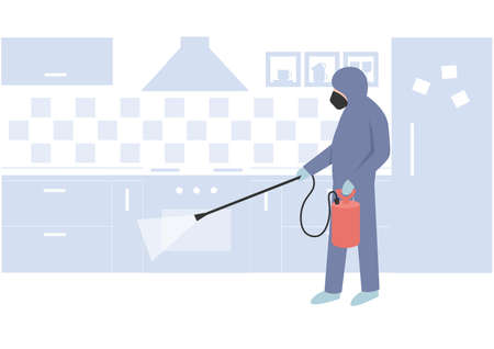 Pest Control Specialist, uniformed professional eliminate and prevent pest on the kitchen using professional equipment. Flat vector cartoon concept illustration.  イラスト・ベクター素材