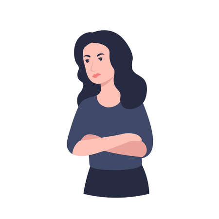 Offended, angry and resentment woman. Cross arms, crossed pose. Flat vector cartoon illustration.