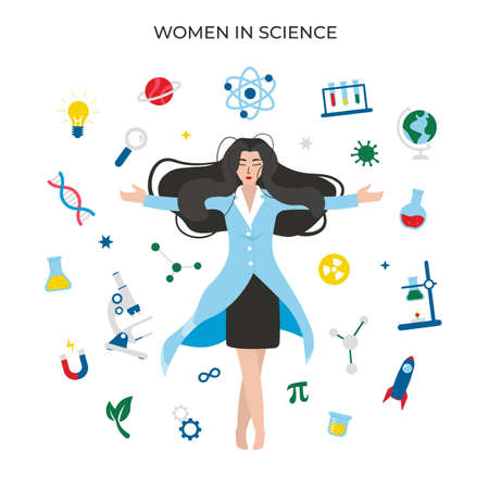 Women in science, concept character with icons. Flat vector cartoon modern illustration.