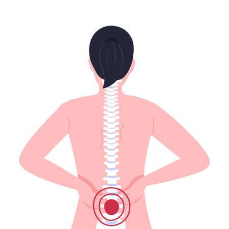Image of a sore spine, lower back pain woman, small of the back. Flat vector illustration.