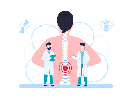 Vertebrologist, concept woman with back pain and doctors examination patient. Flat vector cartoon modern illustration.  イラスト・ベクター素材