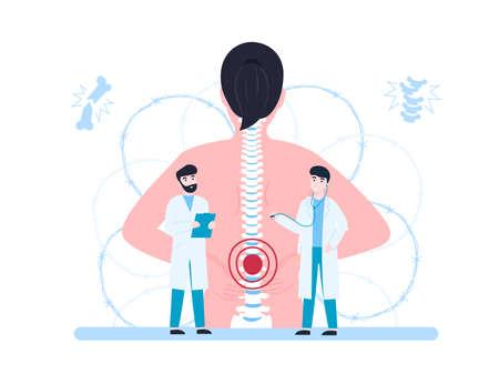 Vertebrologist, concept woman with back pain and doctors examination patient. Flat vector cartoon modern illustration. Stock Illustratie