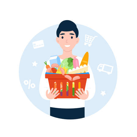 Happy man with a basket of food. Shopping cart with products. Flat vector cartoon illustration.