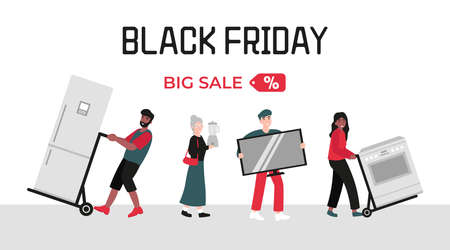 Black friday sale concept, people with home appliances. Flat vector cartoon modern illustration for banner, poster, template, layout.